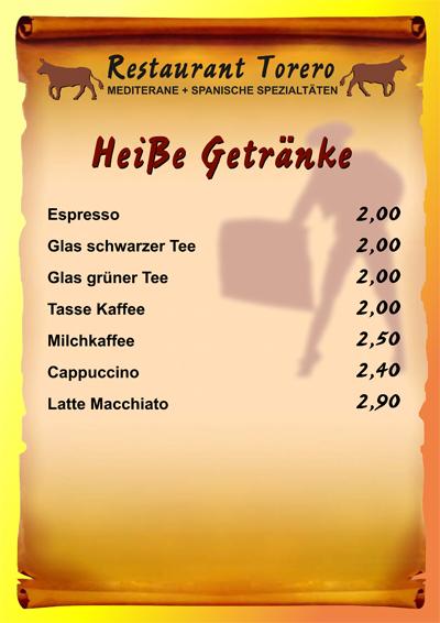 Restaurant Torero - Mediterrane & Spanische Spezialitäten : Getränke